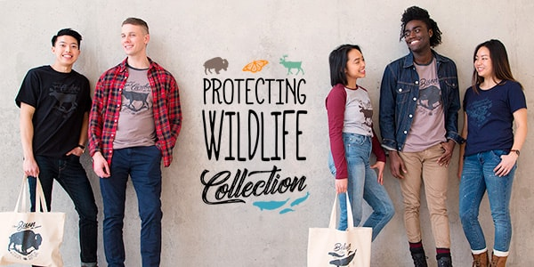 A group of five friends wearing shirts from Parks Canada's Protecting Wildlife collection that features different species at risk.